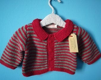 6 month baby boy Cardigan in grey and red wool