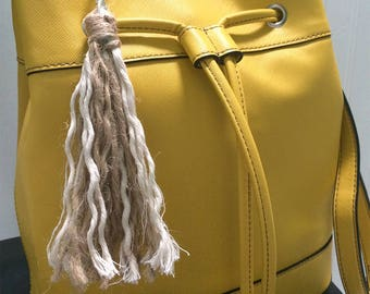 Hemp and Natural White Cotton Rope Keychain Charm, Hemp Cotton Bag Charm, Hemp Boho Keychain, Boho Bag Charm with Hemp, Boho Purse Accessory