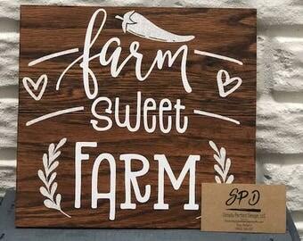 Farm Sweet Farm Wood Sign - Farmhouse Wood Sign