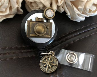Camera badge reel, Photographer gift, photographer badge reel, camera id holder,  men's badge clip