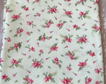"""Floral Fabric, Maywood Studio - """"Heather"""" Blossoms in Pale Green by Jennifer Bosworth - 1 Yard"""