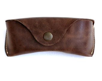 Glasses case  for Wayfarers Clubmasters Sunglasses case waxed leather espresso brown  Handmade by Celyfos®