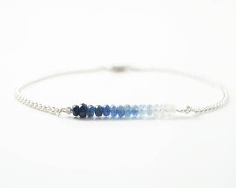 Genuine sapphire bracelet, silver and gold chain