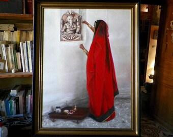 """Original oil painting on wood panel """" Om Shri Ganeshaya Namaha """",by Alain Bongiorno painter and traveler"""