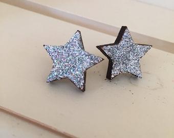 Silver Star Earrings, Star Earrings, silver Earrings, Wood Star Earrings, Wooden Earrings, silver Star, Stud Earrings,