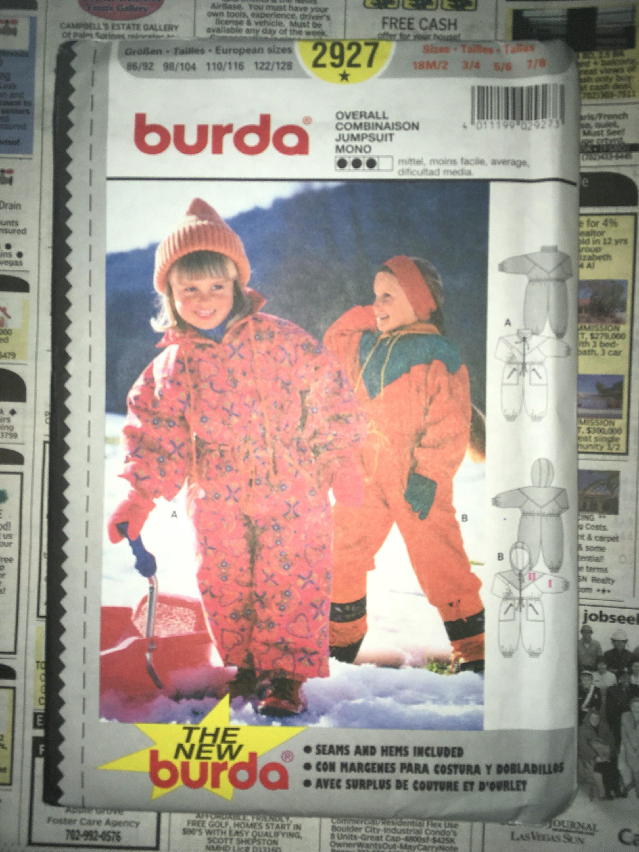 015ede25dfe6 Vintage Burda Winter Snowsuit Pattern 2927 UNCUT Child Size 18M 2-3 ...