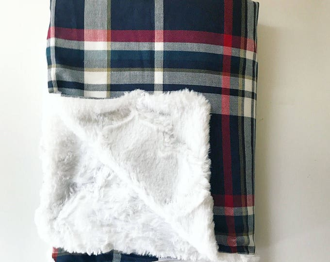 Festive Blue Baby Blanket - Plaid blanket with fleece lining -- Heirloom Baby Blankets