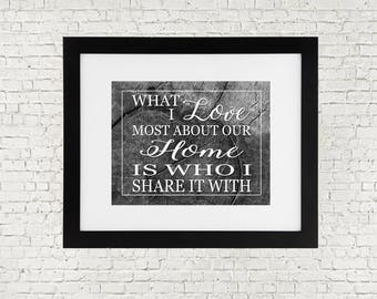 "What I Love Most About Our Home is Who I Share it With - Digital Art / Printable - 11"" x 14"" - Black & White Version"