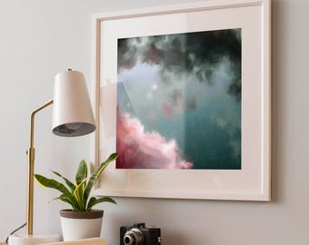 """Printable Abstract Art, Abstract Painting, Digital Download, Cloud Painting, Modern Wall Art, Hand painted, Pink and Teal - Up to 1M or 40"""""""