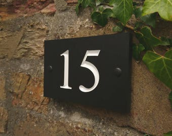 Engraved 2 Digit House Number 1-99 - slate alternative made from Recycled plant pots