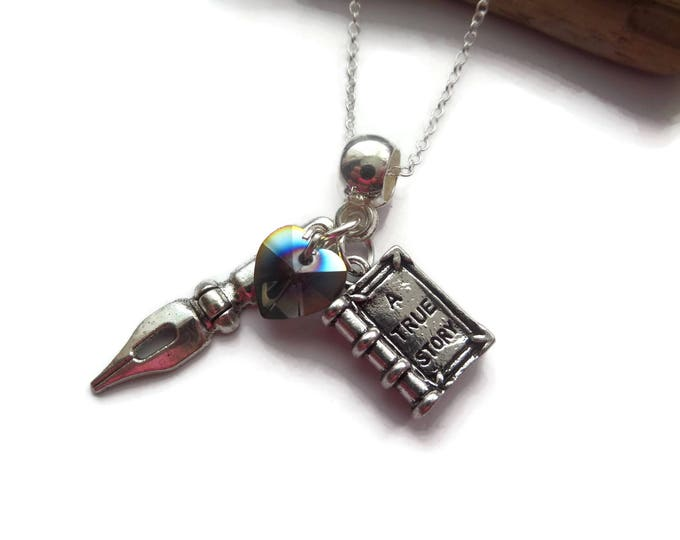 ONCE UPON A TIME inspired charm tibetan silver necklace Henry Mills writer author story book fan gift jewellery Uk