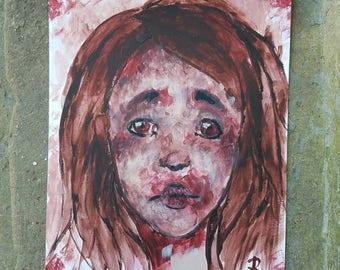 "Original 9""x12"" acrylic artwork, titled ""Sorrow"""
