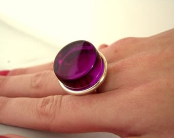 Silver plated ring and purple polyester resin cabochon