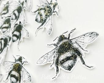 Glittered Bees, Bee Die Cuts, Bee Confetti, Vintage Bee Die Cuts, 20 Ct.