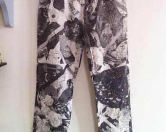 90s Christian Lacroix Bazar high waisted cigarette pants, black and white photo print, gold metal buttons / extra small - small