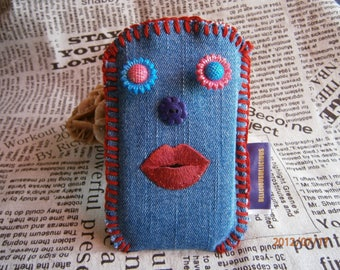 """Original ' case for laptop """"JEANS FUNNY FACE"""" in blue Cotton size 7 cm width x height 12 cm"""