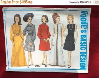 Vogue Vintage Pattern Misses Dress Size 12 Pattern 2067, Fashion Sewing Pattern