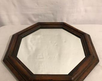 Vintage octagonal mirror Vintage wood frame