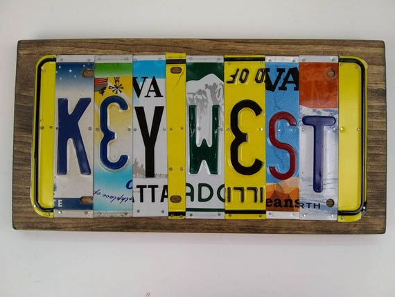 Key West sign License Plate Sign, beach signs, Key West gifts, The Keys sign, gift for beach house, Florida Keys