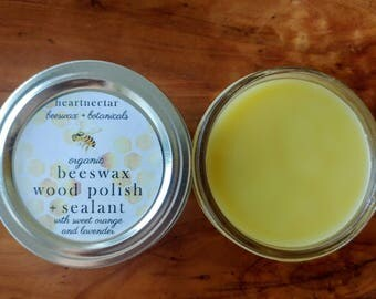 Organic Beeswax Wood Polish and Sealant | wood sealant | furniture polish wax | butcher block |  Sweet Orange and Lavender | 4oz. mason jar