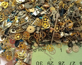 10 Grams of Watch Parts Steampunk Wheels Gears Nail Altered Art Repair Vtg Lot 1/3 ounce Variety Assortment Cogs NOS Movements Repair Small