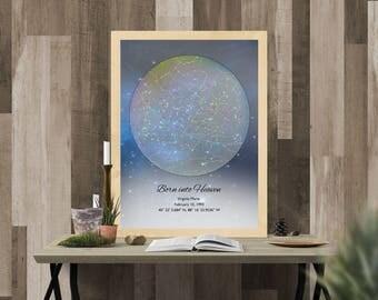 Custom Star Map-Born into Heaven-Rainbow-Actual Night Sky-Loss of Child-Loss of Baby -Miscarriage-Stillborn Memorial-Angel Baby Memorial-69
