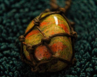 Handmade Macrame Unakite Crystal Necklace