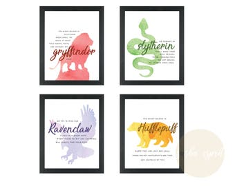 Hogwarts Houses Watercolor Posters INSTANT DOWNLOAD Printable