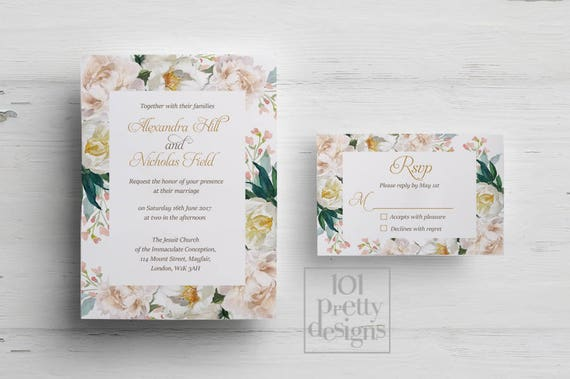 Printable Wedding Invitation Template Floral Wedding Invitation - Modern wedding invitation template