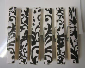 6 Black and White Damask Clothespins-Decorative Clothespins