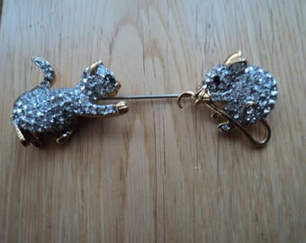 "Vintage cat----mouse Rhinestones stick/pin ""FAC"""