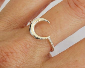 Sterling Silver Ring, Silver Moon Ring, Silver Crescent Moon Ring, Twist Ring, Silver Ring, Silver Band Ring, Not Oxidized Silver Ring