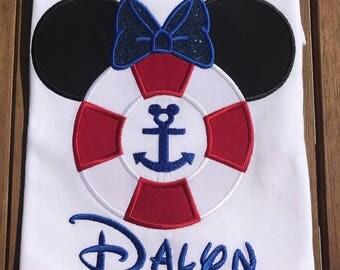 Minnie Mickey Disney Cruise Life Preserver Disney Cruise Family Shirts Applique Mickey Minnie Cruise Shirts
