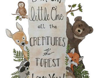 New* Woodland Creatures Nursery Art PRINT