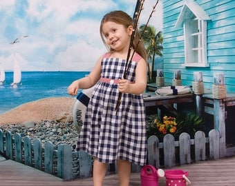 SALE Baby girl summer dress in vichy blue navy and vichy red