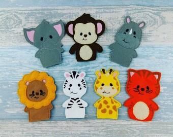 Jungle Animal Finger Puppets - Personalised Felt bag - Lion Monkey Tiger Zebra Giraffe - Baby Shower Birthday Celebration Christmas Gift