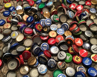 200 Assorted Recycled Beer / Soda  Bottle Caps  / Jewelry Making / Craft Supplies / Mosaic Making