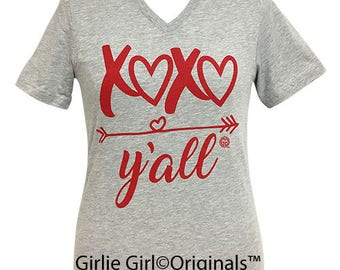Girlie Girl Originals XOXO V-Neck Athletic Grey T-Shirt