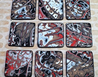 Flat square bead with Street Art designs