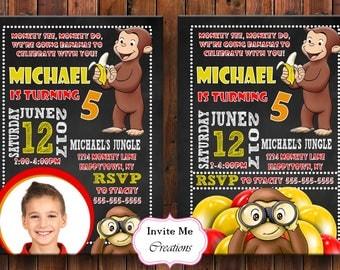 Curious George Invitation, Monkey Invitation, Monkey Invite, Banana, Birthday Invitation, Birthday Invite, Balloons, Digital Invite, Monkey