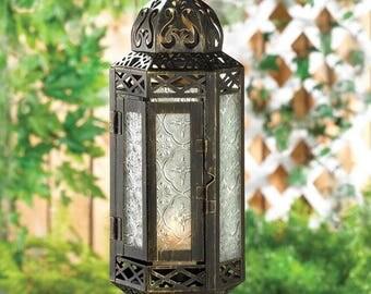 Elegant Victorian Style Hanging Candle Holder Lantern