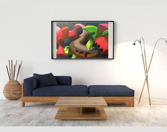 Modern abstract acrylic painting, Giclée print on archival paper. - Limited edition collectable. Only 18 available.