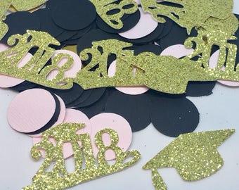100pcs Graduation glitter confetti, Graduation confetti, Class of 2018 confetti