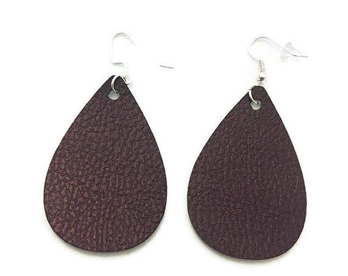 Leather Teardrop Earrings, Brown Pebbled Leather Teardrop Earrings, 2 inches long, Silver Earrings Wires with Backing, Faux Leather Earrings