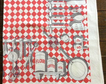 Vintage tablecloth.  Red checks with kitchen utensils.
