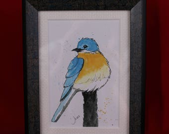 Bluebird Pen & Ink Watercolor Print, Framed Blue bird print, Bluebird Wall Art, Custom framed Matted Bluebird Print, gifts for her
