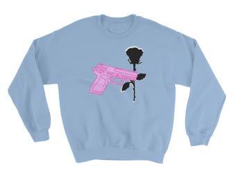 Pistol Gun and Rose Crewneck Sweatshirt in Blue