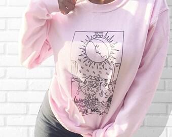 The Moon Tarot Card - Crewneck Sweatshirt - Pink - Grunge