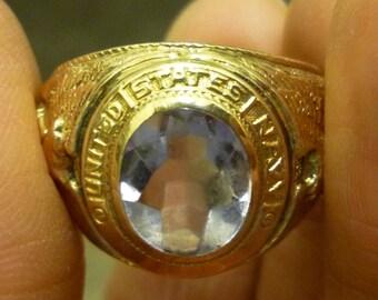 H55 Vintage 10K on Sterling United States Navy Ring, Size 11 1/2.