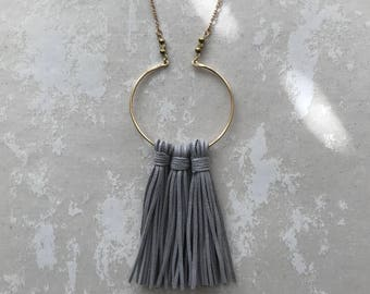 Gray tassel necklace